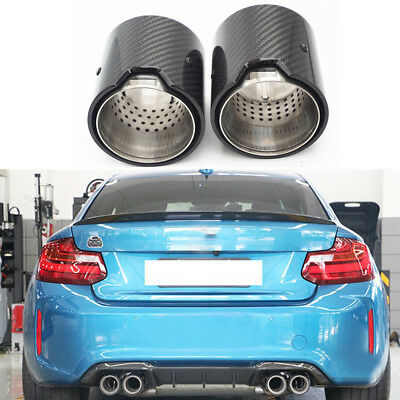Car Carbon Fiber Exhaust End Tail Tips 63mm For BMW M Performance exhaust pipe