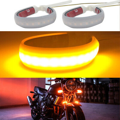 2X Universal Motorcycle Fork Turn Signals Light Amber LED Strips 3014 Lamp Beads