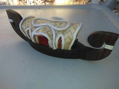 collectible sleepy h boat wooden carving