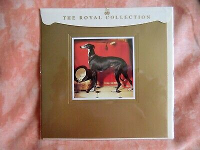 The Royal Collection Black Greyhound Portrait Greeting Card - Suitable to Frame