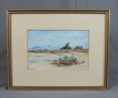 Bert Langley Vintage Watercolour Mountainous Desert Scene