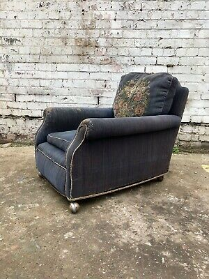 Original Edwardian Upholstered English Country House Armchair Easy Chair Antique