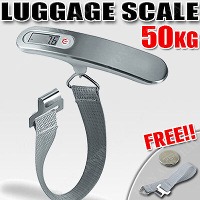 50KG Digital Travel Portable Handheld Luggage Weighing Scales Suitcase Bag AU