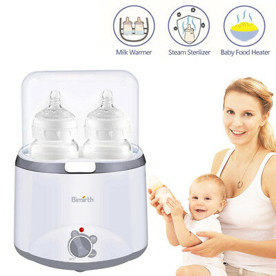 2 Bottle Electric Steam Steriliser Set Baby Bottles Warmer Breastmilk Heater