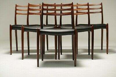 Niels Moller Rosewood Model 78 Dining Chairs set of 6 restored & reupholstered