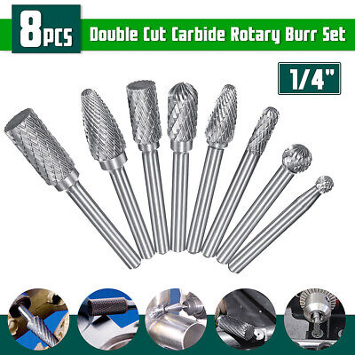 UK_ 8Pcs 1/4inch Shank Double Cut Carbide Rotary Burr Die Grinder File Power Too