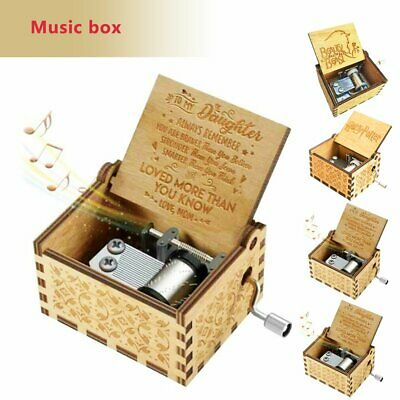 Wooden Music Box Mom To Daughter -You Are My -Sunshine Engraved Toy Kid Gifts U9