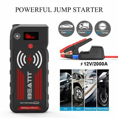 2000Amp Peak 12V Portable Jump 121000mAh Power Bank With Wireless Charger