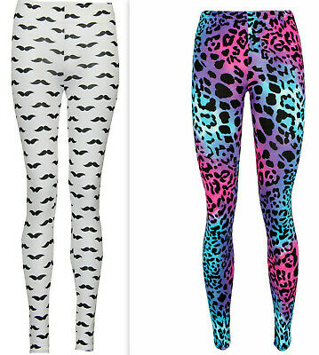 Women Ladies Printed Stretchy Stretchy Soft Full Length Leggings Jeggings