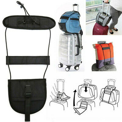 Add A Bag Strap Travel Luggage Suitcase Adjustable Belt Carry On Bungee Easy HV