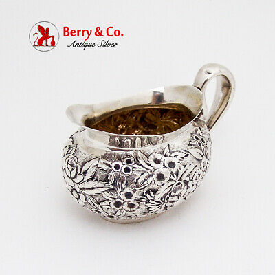 Repousse Floral Creamer Gilt Interior Whiting Mfg Co Sterling Silver 1890