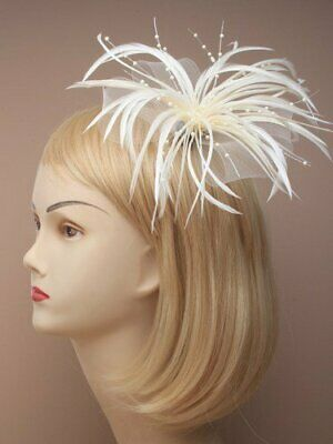 IVORY CREAM Looped Mesh Feather & Pearl Bead Flower Hair Fascinator - on Clip