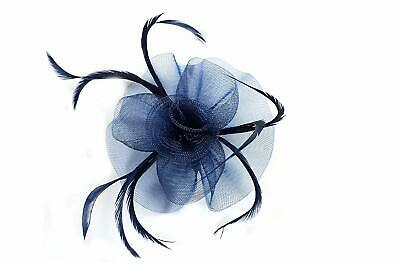 Navy Blue Looped Net and Feather with Centre Swirl Flower Hair Fascinator - Clip