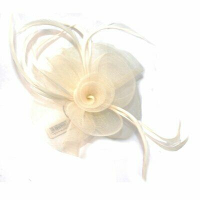 Cream Looped Net and Feather with Centre Swirl Flower Hair Fascinator - on Clip