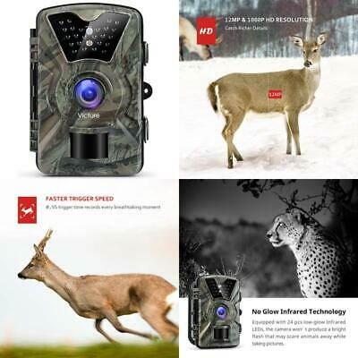 Victure Wildlife Camera 12Mp 1080P Trail Game Camera Motion Activated Infrared N