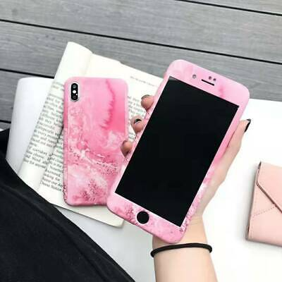 360° Pink Sea Wave Hard Protective Cover Case for iPhone XS Max XR 6 8 Plus+Flim