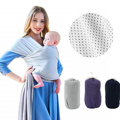 Adjustable Baby Sling Stretchy Wrap Carrier Pouch Infant Birth Breastfeeding UK