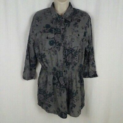 Natural Reflections womens shirt Size L Gray floral Long sleeves Button up front