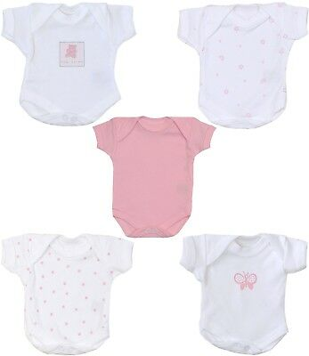 Premature Baby Clothes 2 x Tiny Bodysuits Vests for Girls 1.5 - 3.5lbs (Seconds)