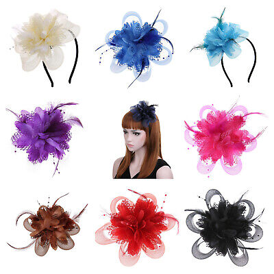 Net Mesh Flower - Feather and Beaded Pearls - Hair Fascinator - Headband & Clip