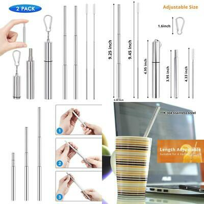 Reusable Drinking Straws (2 Pack), Telescopic Stainless Steel Straws With Case,