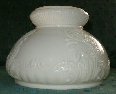 """Vintage Milk Glass Hurricane Student Bankers Glass Lamp Shade 7"""" Fitter Embossed"""
