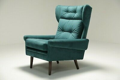 Svend Skipper Wingback Chair in Luxe Teal Velvet vintage retro mid-century