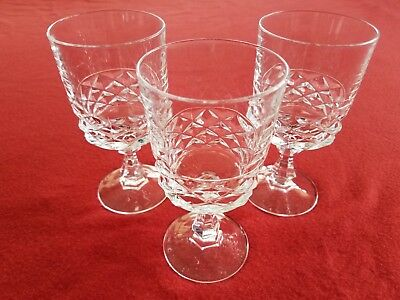 "Crystal Water Wine Goblets Vintage Glasses 5.25""H Set Of 3 Stemmed Textured Nice"