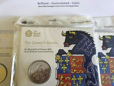 Queens Beasts Bull Of Clarence 2018 5 Pound Coin Royal Mint Packaged