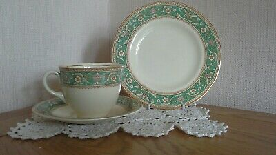 Vintage Woods Ivory Ware, 5 cups,saucers, green