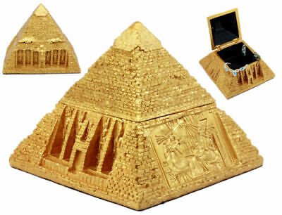 "Ebros Golden Ancient Egyptian Gods Carved Pyramid Hinged Jewelry Box 7"" Long"