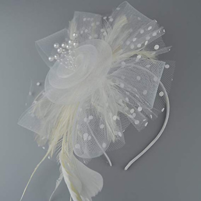 White Looped Mesh Flower Ribbons Feathers Hair Hat Fascinator - Headband & Clip