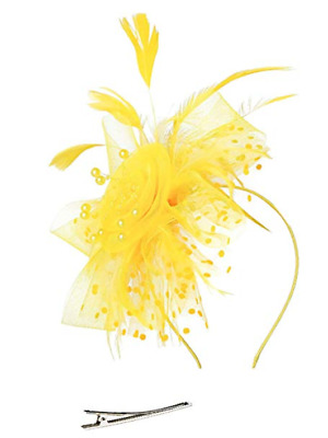 Yellow Looped Mesh Flower Ribbons Feathers Hair Hat Fascinator - Headband & Clip