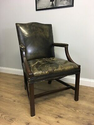 Green Leather Gainsborough Chesterfield Chair Captains Library Desk Chair