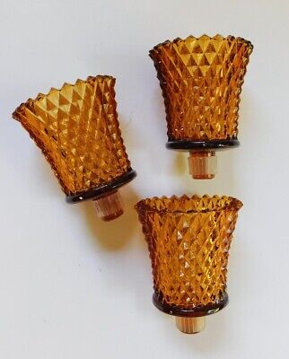 3 Vintage Gold Amber Diamond Point Peg Candle Holder Cups Mid Century