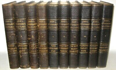 LEATHER Set;STODDARD'S LECTURES! FIRST EDITION! 1897•COMPLETE TRAVEL Exploration