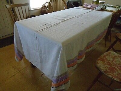 Vintage  Linen Farmhouse Style Tablecloth /  Bedcover  - 60 X 77 Inches