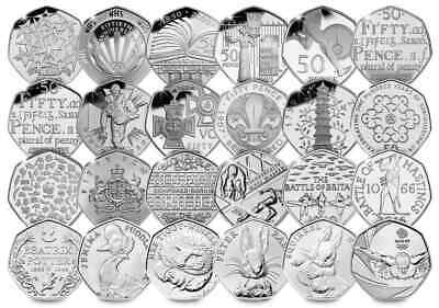 50p GREAT BRITISH COIN HUNT Job Lot 20 x 50p Fifty Pence Coins Rare In Wallet