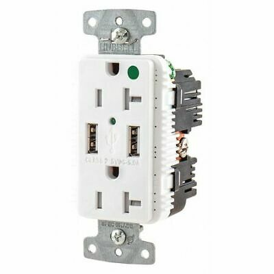 HUBBELL WIRING DEVICE-KELLEMS USB8300A5W USB Charger Receptacle,2 Ports,2 Poles