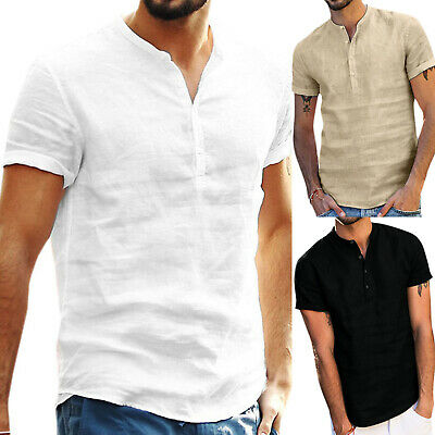 Mens Standing Collar Short Sleeve Soft Solid Tops Summer Beach Holiday T Shirts