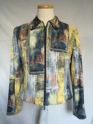 Joseph Ribkoff Womens Zippered Jacket Sz 14 Faux Denim Sequined Patchwork Lined
