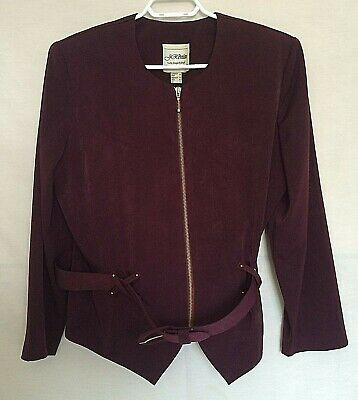 Joseph Ribkoff Womens Belted Jacket Sz 12 Wine Color Full Zip Long Sleeve