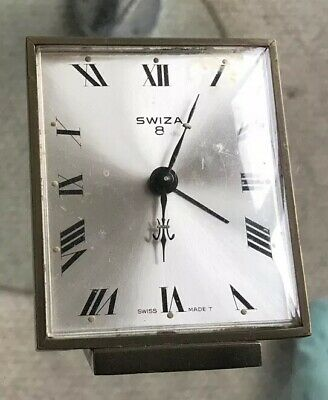 Vintage Swiza 8 Swiss Made Alarm Desk Clock Manual Hand Winding