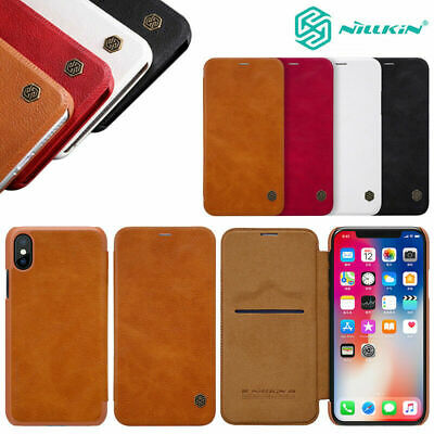For iPhone XS Max XR 8+ 100% Genuine NILLKIN Leather Flip Wallet Card Case Cover