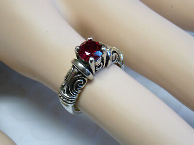 Red Ruby Antique 925 Sterling Silver Ring Size 9.5 Usa Made Old Style