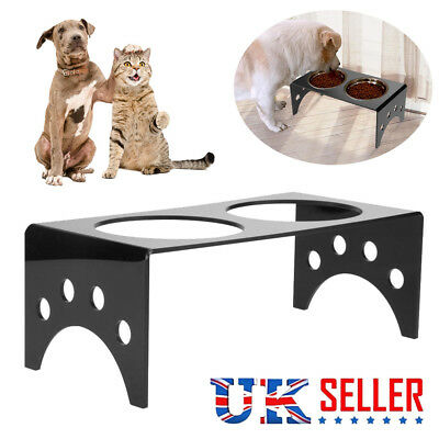 Pet Dog Cat Double Bowl Food Water Feeder Raised Rack Feeding Dish Stand