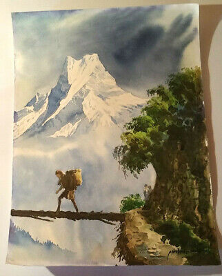 "Nepal Mt. Everest Sherpa Watercolor Painting 14.75"" X 11 Free Shipping!"