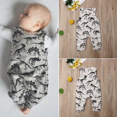 AU Newborn Baby Boy Clothes Dinosaur Sleeveless Romper Jumpsuit Overall Outfits