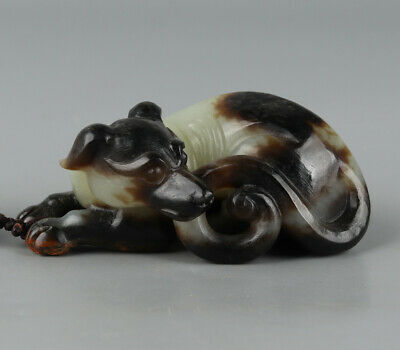 Chinese Exquisite Hand-carved dog Carving Hetian jade statue
