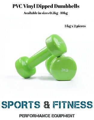 GREEN 3kg pair  Anti-Slip Dumbbell Weight Home Gym Fitness Exercise Workout Set